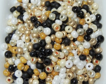 Black Tie Affair Black white gold size 6 seed bead mix 50 Grams