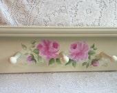 Peg SHELF  Plate Rack Hand Painted Pink Roses Creamy White ECS SVFTeam SCHteam sct