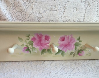 Peg SHELF  Plate Rack Hand Painted Pink Roses Creamy White ECS SVFTeam SCHteam sct
