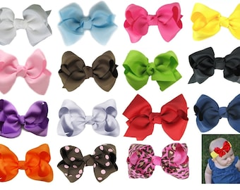 PICK a Color - mix and match - HAIR BOW and Headband Set - White Orange Pink Purple Red Green Lavender Brown Black Yellow Blue - Waffle Band
