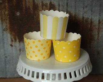 20 Yellow Cupcake Cups -- stripes -- dots -- stars -- sunshine -- lemon