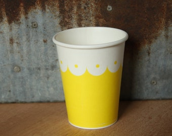 10 Yellow Scallop Drinking Cups