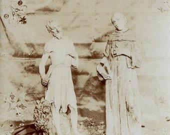 vintage photo 1920s Statues Saint & Sinner Italian