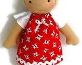 Doll dress, Red pirate skulls dress for your 7, 8 or 9 inch thin doll, Waldorf clothing