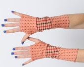 Pink patchwork fingerless gloves, Pink and orange armwarmers, Pink floral Patchwork arm warmers, Long fingerless gloves