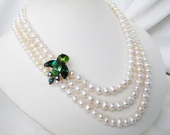 Jewel Tone Rhinestone Pearl Necklace, Three Strand White Pearl Bridal Necklce, Vintage Green Rhinestone Bee, Gold Clasp, Ivory Pearl, Anne