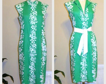 1960s Shift Dress 60s Green /White Floral Dress Hawaiian Dress