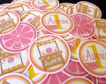 Pink Lemonade Birthday Party Minis / Mini Tags to make Cupcake Toppers, Use as Table Confetti and More / Name & Age / Set of 75