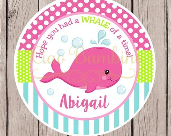 Pink Whale Birthday Party Favor Tags or Stickers / Personalized Whale Party Favor Stickers / Pink, Lime Green and Aqua / Set of 12 - 0028