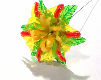 Yellow Fantasy Flower Orange Striped Petals Upcycled from Plastic Water Bottles One of a Kind