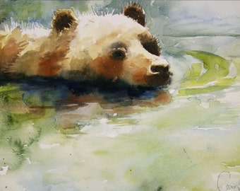 "watercolor study for ""swimmer"" - bear note card"