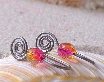 Hypoallergenic Earrings for Sensitive Ears - Pure Titanium Earrings - Czech Glass Bead Earrings - Short Earrings - Yellow Pink Orange