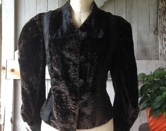 1890s plush velvet jacket Victorian outewear size medium Steampunk chocolate brown antique