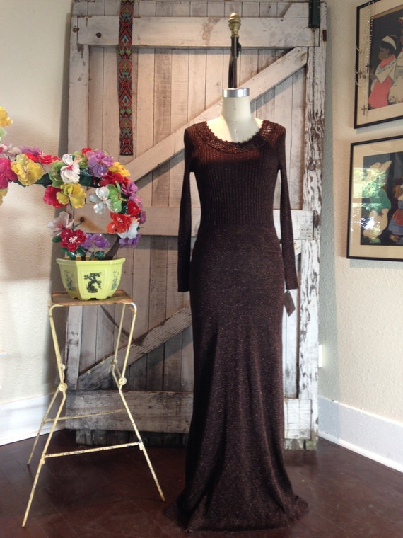 1970s knit maxi dress Vintage Wenjilli dress 70s crochet hostess dress Brown floor length Size medium