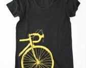 Road Bike T-shirt (Womens Fitted) Yellow Bike Screenprint on a Tri-Black Tee