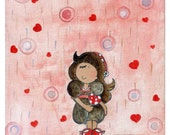 shower with love ( Print ) whimsical, girl, pink, red heart, girl room decorations