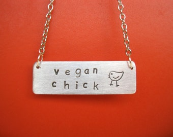 Vegan Chick Necklace-Rectangle-Gift-Birthday-Anniversary-Personalized-Ethical-Chicken Lover-Vegan Necklace-Eco Friendly