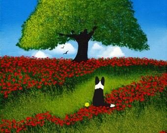 Border Collie Dog folk Art PRINT Todd Young painting OAK TREE