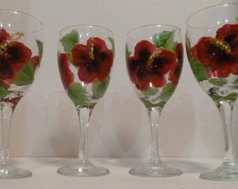 Red Hibiscus Flower Wine Glasses Set of 4 Tropical Goblets Hand Painted