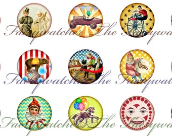One Inch Vintage Circus Magnets, Pins or Flatbacks 12ct. Set D