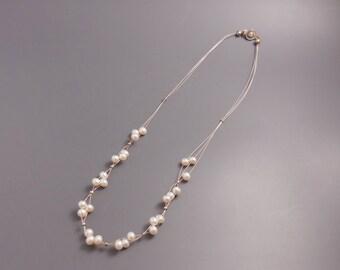 706 Bright White Swarovski Crystal Pearl Tigertail Necklace