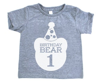 First Birthday Bear TriBlend Heather Grey TShirt with White Print - Infant and Toddler sizes