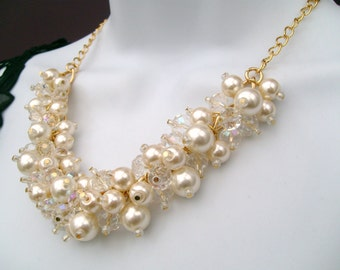 Pearl Necklace with Crystals, Ivory Pearl Cluster Necklace, Bridal Jewelry, Wedding Necklace, Chunky Necklace, Bridesmaids Gift, Bling, Glam