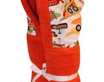Personalized Orange Construction Hooded Towel.