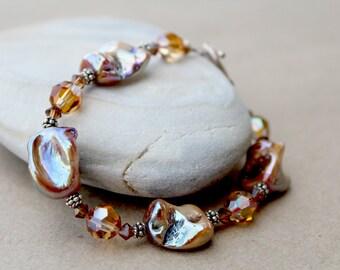 Brown Mother of Pearl Swarovski Crystals Bracelet