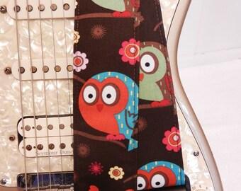 cute owl brown guitar strap