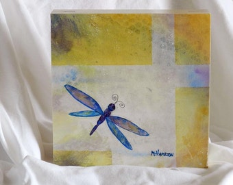 Dragonfly Painting, Dragonflies Art, Bug, Insect, Dragonfly Wall Art, Dragonfly Decor, 10 x 10 Cradled Birch Board Ready to Hang