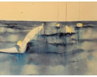 original seagull watercolor painting, ocean art, seagull art, nautical art, abstract art, watercolor seagull, seagull wall decor, seagull