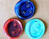 3 Handmade ceramic beads - Moon Beads