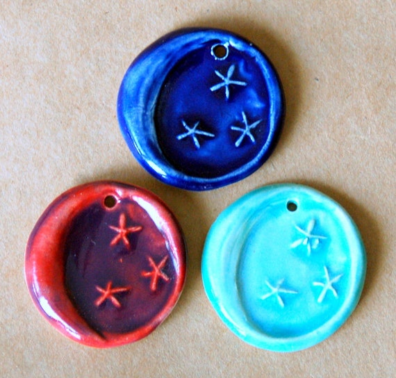 3 Handmade ceramic beads - Moon Beads