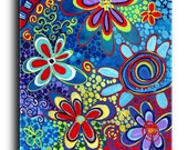Gallery Canvas and Fine Art Prints Colorful Fine Art Print Psychedelic Flower Whimsical Hippie Modern Contemporary Elena