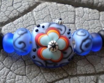 Etched Blue Scroll Flower Beads Lampwork Beads by Cherie Sra R114  Flameworked Glass Beads Murrini Bead Focal Spacers Encased Etched Bead