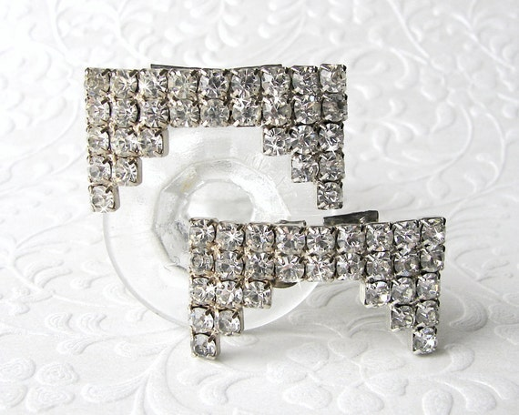 50's Rhinestone Shoe Clips Vintage Costume Jewelry Accessory Chic Wedding Bridal Formal Pageant Ballroom Prom Special Occasion Accessories