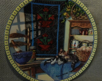 "Vintage ""Lazy Morning"" decorative plate"