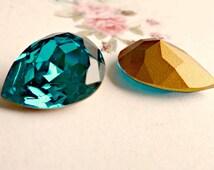 Swarovski 18x13mm Pear Article 4320 Teal Blue Zircon Crystal Rhinestone Jewel (57-8-1)