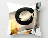 "Enso, Zen Circle Pillow, Watercolor Painting, Art, ""Enso Abstraction No. 105"" Original Zen Circle art painting by Kathy Morton Stanion  EBSQ"