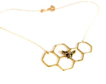 14k Gold Plated Honeycomb Necklace on 14k Gold Filled Chain