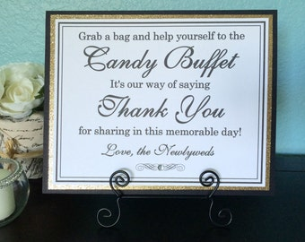 8x10 Flat Wedding Candy Buffet Sign in Black and White and Glittery Gold - READY TO SHIP