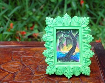 OOAK Willow Tree Art Copic Art Tree Art Framed Art Original Art Tropical Tree Sunset