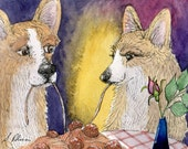 Welsh Corgi dog 8x10 art print lady and the tramp meatballs spaghetti love romance in the air sharing dinner restaurant dining out supper