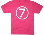 Kids CIRCLE Seventh Birthday T-shirt - Hot Pink