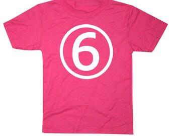 Kids CIRCLE Sixth Birthday T-shirt - Hot Pink