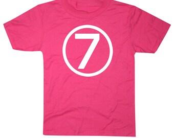 Kids CIRCLE Seventh Birthday T-shirt - Hot Pink