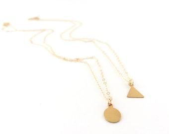 Little Bittie Necklace + Brass + Gold Fill Chain + Triange + Circle + Geometric