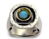 Oxidized Silver Ring, Opal Jewelry, October Birthstone Ring, Hammered Silver Ring, Silver Gold Ring, Opal Stone - A day without rain R1438C
