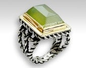 Bohemian ring, Silver gold ring, twotone ring, statement jewelry, gypsy ring, rectangle ring, green ring, boho ring - Next to you R1553-1